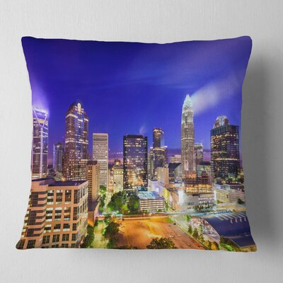 Charlotte North Carolina Cityscape Pillow Size: 16 x 16, Product Type: Throw Pillow
