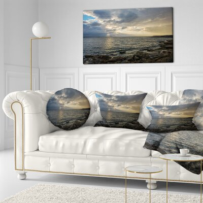 Cloudy Australian Seashore in Sydney Seashore Throw Pillow Size: 16 x 16