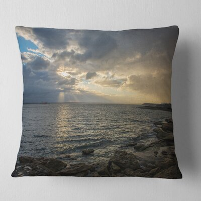 Cloudy Australian Seashore in Sydney Seashore Pillow Size: 18 x 18, Product Type: Throw Pillow