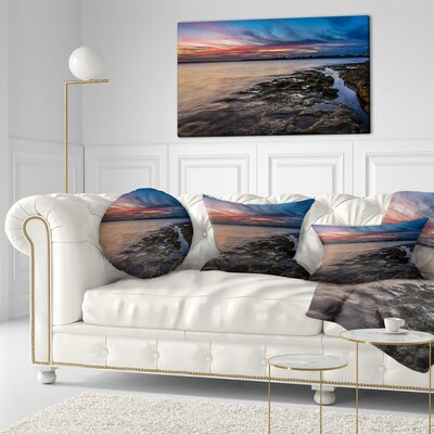 Sky and Dark Rocky Sydney Coast Seashore Throw Pillow Size: 16 x 16