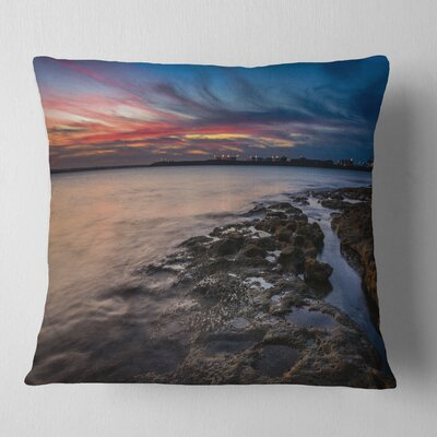 Sky and Dark Rocky Sydney Coast Seashore Pillow Size: 18 x 18, Product Type: Throw Pillow