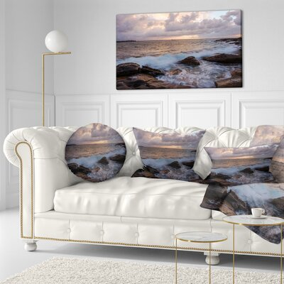 Cloudy Sky and Stormy Waves in Sydney Seashore Throw Pillow Size: 16 x 16