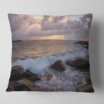 Cloudy Sky and Stormy Waves in Sydney Seashore Pillow Size: 18 x 18, Product Type: Throw Pillow