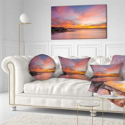 Calm Sydney Beach with Yellow Sky Seashore Throw Pillow Size: 20 x 20