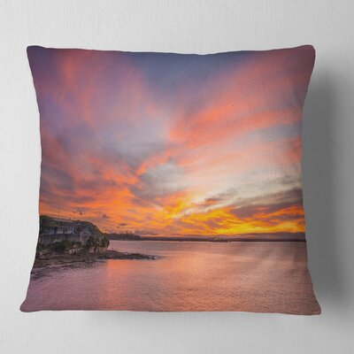 Calm Sydney Beach with Yellow Sky Seashore Pillow Size: 16 x 16, Product Type: Throw Pillow