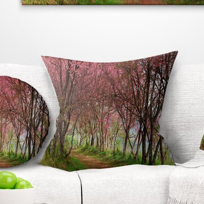 Sakura Flowers in Thailand Landscape Printed Pillow Size: 18 x 18, Product Type: Throw Pillow