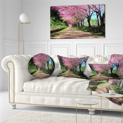 Cherry Blossom Pathway in Chiang Mai Landscape Printed Throw Pillow Size: 20 x 20