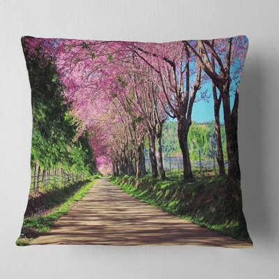 Cherry Blossom Pathway in Chiang Mai Landscape Printed Pillow Size: 18 x 18, Product Type: Throw Pillow