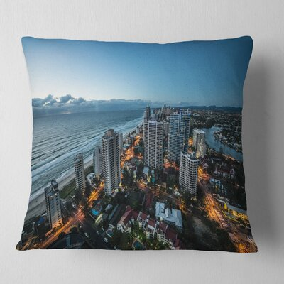 Brisbane Skyscrapers and Sea Aerial View Cityscape Pillow Size: 16 x 16, Product Type: Throw Pillow