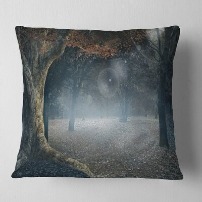 Big Trees in Dark Foggy Forest Landscape Photography Pillow Size: 18 x 18, Product Type: Throw Pillow