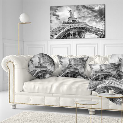 View of Paris Eiffel Tower Cityscape Throw Pillow Size: 16