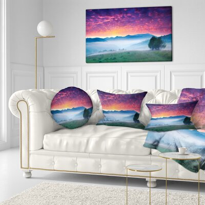 Blood Sky Grass Landscape Photo Throw Pillow Size: 16 x 16