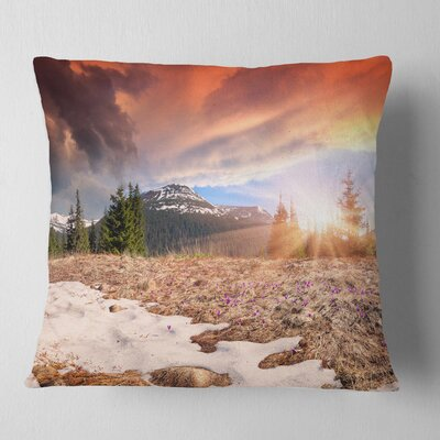 Blooming Crocuses in Mountains Landscape Photography Pillow Size: 18 x 18, Product Type: Throw Pillow