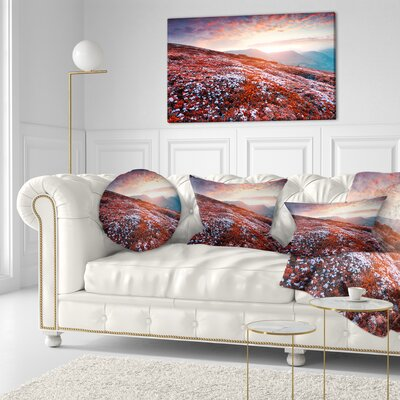 Blooming Fields in Carpathian Landscape Photo Throw Pillow Size: 16 x 16