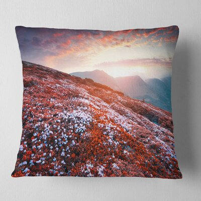 Blooming Crocuses in Mountains Landscape Photography Pillow Size: 26 x 26, Product Type: Euro Pillow
