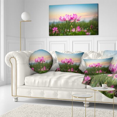 Blooming Lotus Flowers at Sunset Floral Photo Throw Pillow Size: 20 x 20