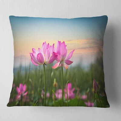 Blooming Lotus Flowers at Sunset Floral Photo Pillow Size: 16 x 16, Product Type: Throw Pillow