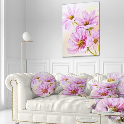 Blooming Cosmos Flowers Floral Throw Pillow Size: 20 x 20
