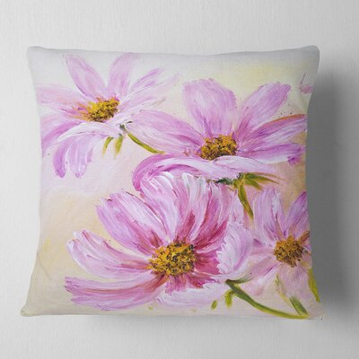 Blooming Cosmos Flowers Floral Pillow Size: 18 x 18, Product Type: Throw Pillow