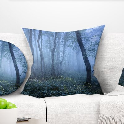 Trail Through Fall Forest Landscape Photo Pillow Size: 18 x 18, Product Type: Throw Pillow