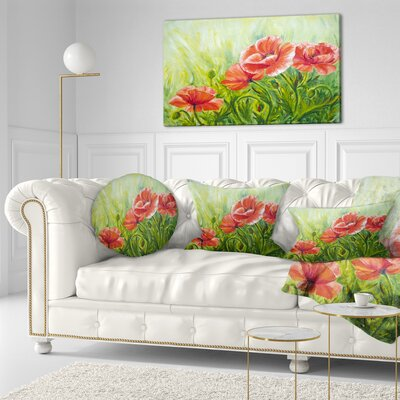Blooming Poppies with Leaves Floral Throw Pillow Size: 20 x 20