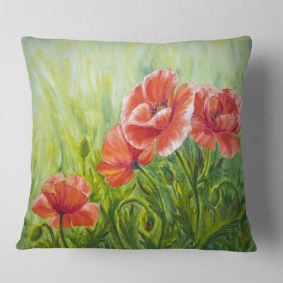Blooming Poppies with Leaves Floral Pillow Size: 16 x 16, Product Type: Throw Pillow