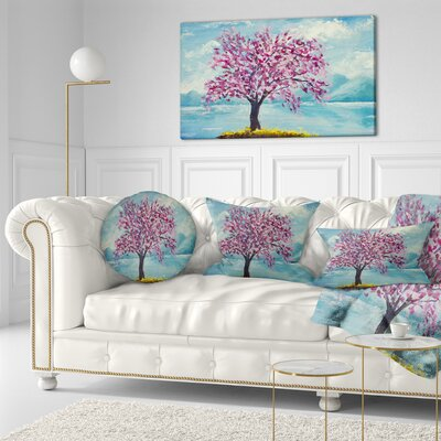 Blooming Sakura Flowers Floral Throw Pillow Size: 16 x 16
