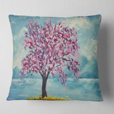 Blooming Sakura Flowers Floral Pillow Size: 16 x 16, Product Type: Throw Pillow
