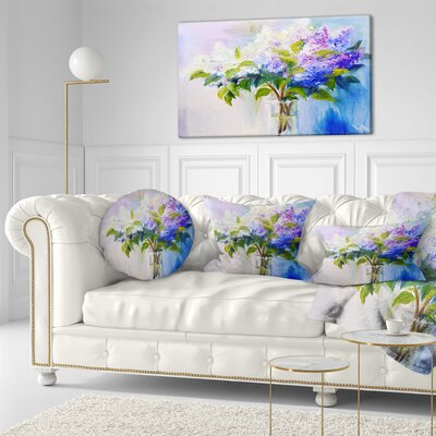 Lilacs in Vase Floral Throw Pillow Size: 16 x 16