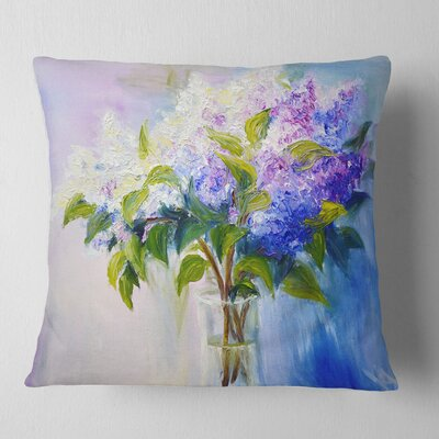 Lilacs in Vase Floral Pillow Size: 26 x 26, Product Type: Euro Pillow
