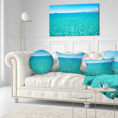 Benidorm Levante Beach Seascape Throw Pillow Size: 20 x 20
