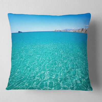 Benidorm Levante Beach Seascape Pillow Size: 16 x 16, Product Type: Throw Pillow