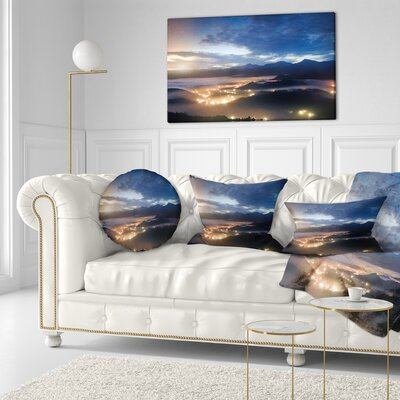Cloudy Summer Sunrise Landscape Photo Throw Pillow Size: 16 x 16