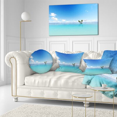 Corals Island Sea Seascape Throw Pillow Size: 16 x 16