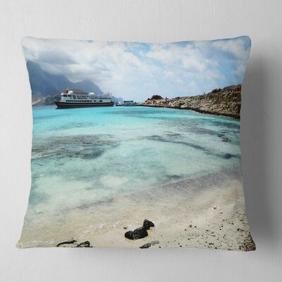 Crete Island in Greece Seascape Pillow Size: 16 x 16, Product Type: Throw Pillow