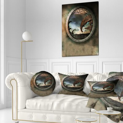 Fantasy Landscape with Frame Photography Throw Pillow Size: 20 x 20