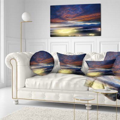 Fiery overcast at Sunrise Landscape Photo Throw Pillow Size: 16 x 16