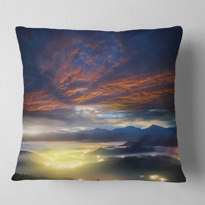 Fiery overcast at Sunrise Landscape Photo Pillow Size: 26 x 26, Product Type: Euro Pillow
