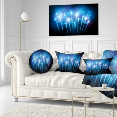 Fireworks at Night Sky Skyline Photography Throw Pillow Size: 20 x 20