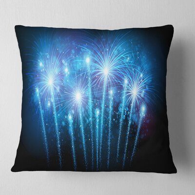 Fireworks at Night Sky Skyline Photography Pillow Size: 16 x 16, Product Type: Throw Pillow