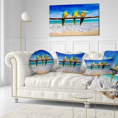 Gold Macaws at Beach Seashore Photo Throw Pillow Size: 16 x 16