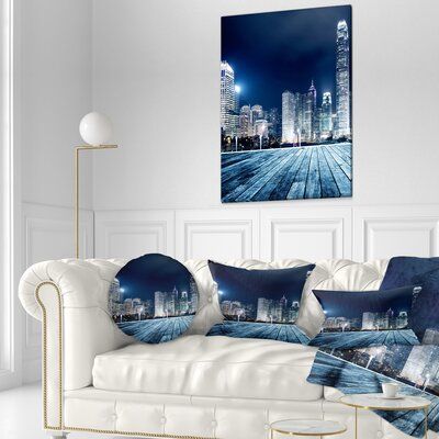 Hong Kong City Skyline Cityscape Throw Pillow Size: 16 x 16