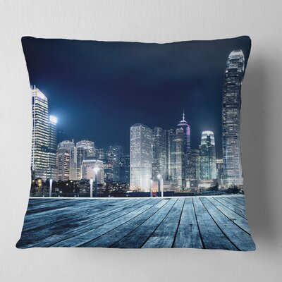 Hong Kong City Skyline Cityscape Pillow Size: 18 x 18, Product Type: Throw Pillow