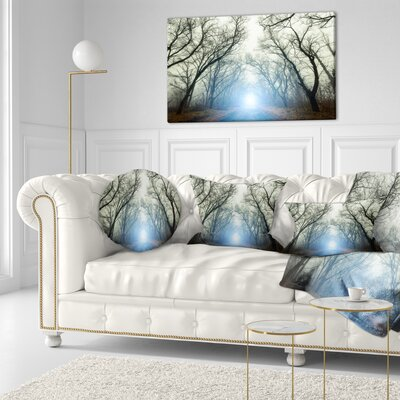 Light in Foggy Autumn Landscape Photo Throw Pillow Size: 20 x 20