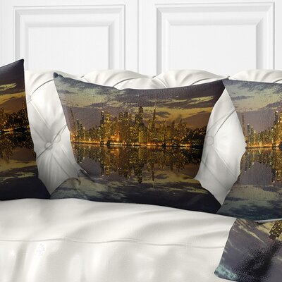 San Francisco at Sunset Panorama Cityscape Pillow Size: 16 x 16, Product Type: Throw Pillow