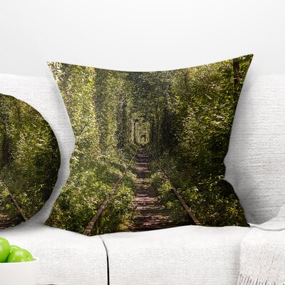 Tree Rail Tunnel in Forest Landscape Photo Pillow Size: 18 x 18, Product Type: Throw Pillow