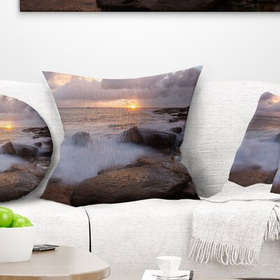 Waves Hitting Rocks in Australia Coastline Seashore Pillow Size: 16 x 16, Product Type: Throw Pillow