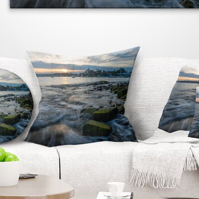 Waves Hitting Rocky Seashore Seashore Pillow Size: 26 x 26, Product Type: Euro Pillow