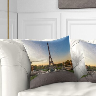 Wide View of Paris Eiffel Tower at Sunrise Cityscape Pillow Size: 18 x 18, Product Type: Throw Pillow
