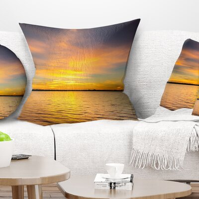 Sunrise Light Hitting Water Seashore Pillow Size: 18 x 18, Product Type: Throw Pillow